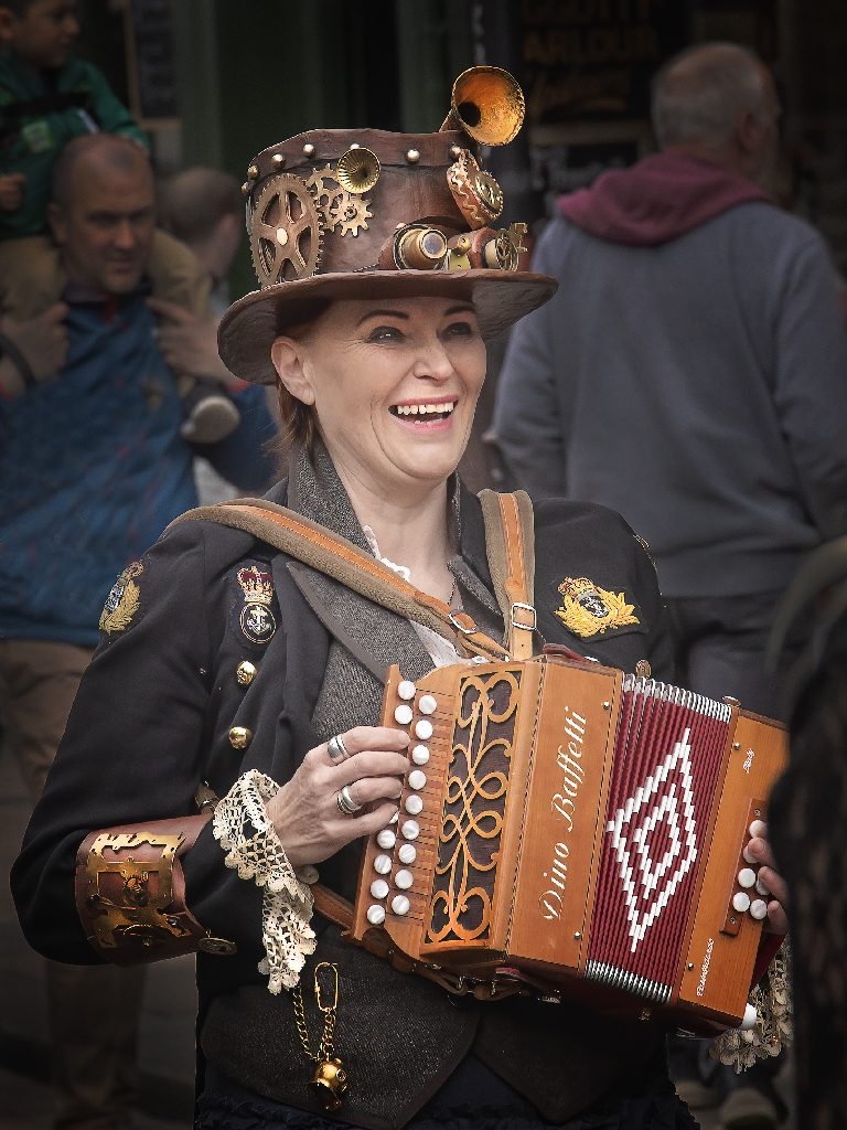 Happy Steam Punk accordianist